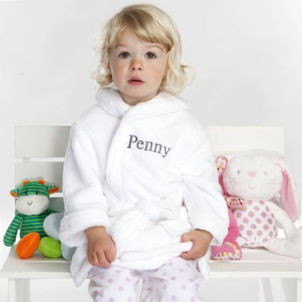 Personalised Soft Baby / Child's Dressing Gown In White